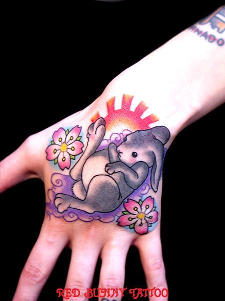 うさぎ 桜    (タトゥー tattoo 画像 デザイン)