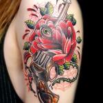 バラ  ピストル   (刺青  タトゥー tattoo 画像 デザイン)