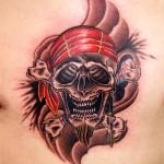 スカル skull 海賊   (刺青  タトゥー tattoo 画像 デザイン)