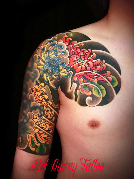 菊 刺青 和彫り (デザイン・画像)