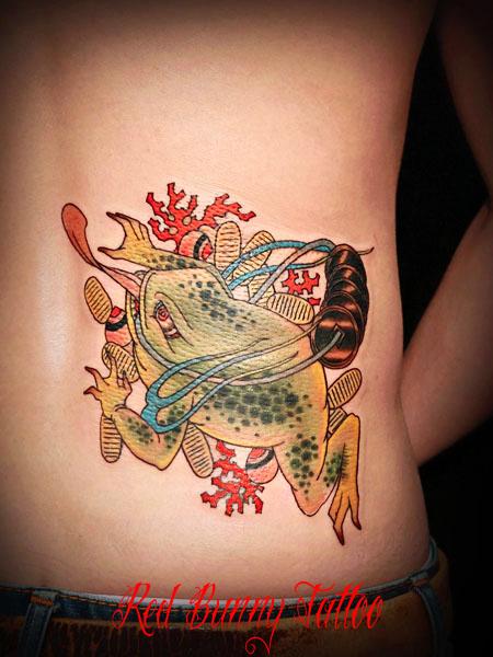 銭蛙 金運 風水 タトゥー tattoo