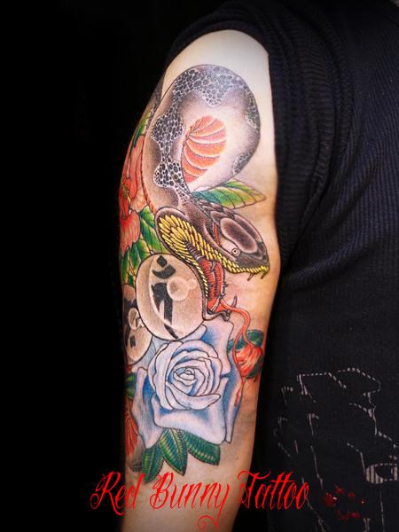 蛇 刺青 タトゥー デザイン 画像 東京 redbunnytattoo 梵字