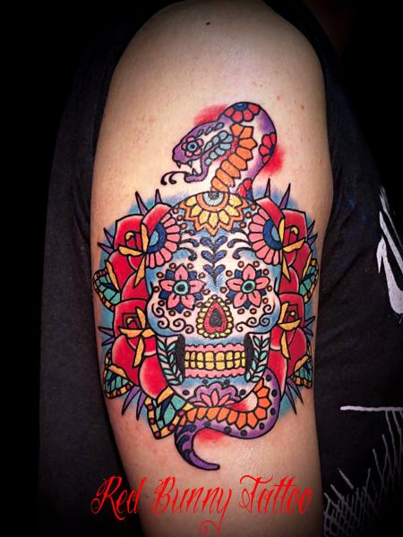 シュガースカル・メキシカンスカル タトゥー デザイン skull tattoo