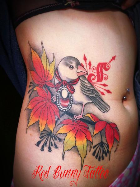 鳥 bird tattoo girl 東京 吉祥寺 Redbunnytattoo