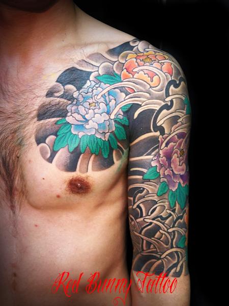 牡丹散らし 刺青・和彫りのデザイン・画像の紹介 東京 吉祥寺 Redbunnytattoo