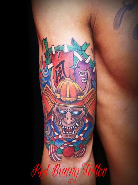 武者 鎧 兜   刺青・タトゥーのデザイン 画像 「東京 吉祥寺 Redbunnytattoo」