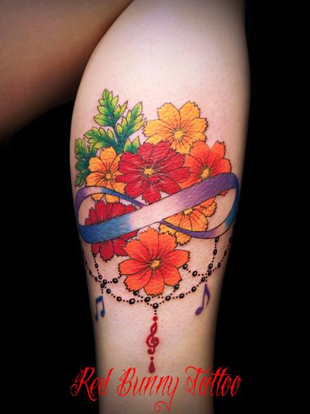 花・植物のタトゥーデザイン Flower girl tattoo 東京 吉祥寺 Redbunnytattoo
