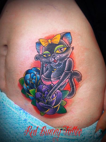 猫のタトゥーデザイン cat tattoo 東京 吉祥寺 Redbunnytattoo girl tattoo