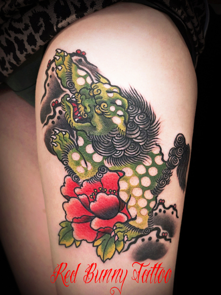 唐獅子牡丹 タトゥー・刺青のデザイン 女性の刺青
