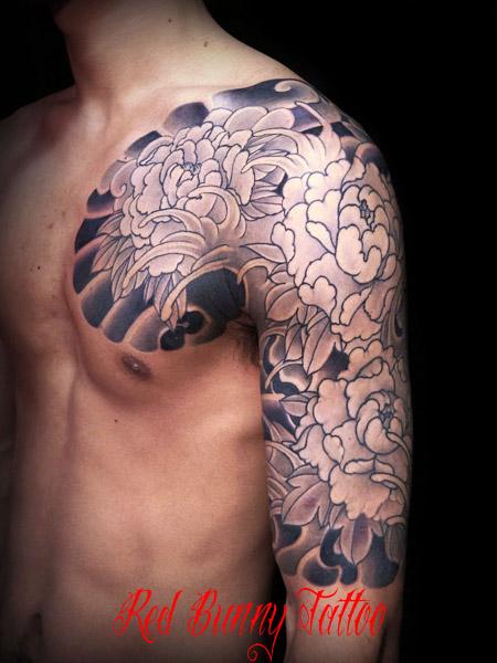 牡丹 五分 和彫り・刺青のデザイン紹介