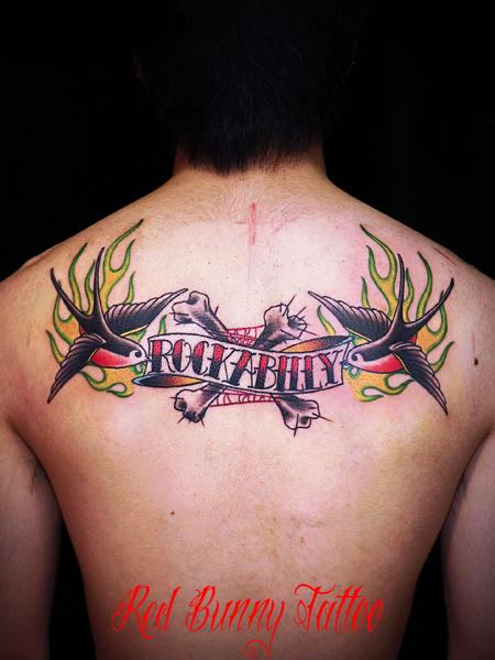 ツバメとロカビリー タトゥーデザイン rockabilly swallow tattoo