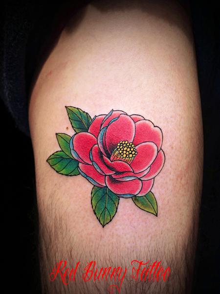 椿 花・植物のタトゥーデザイン flower tattoo