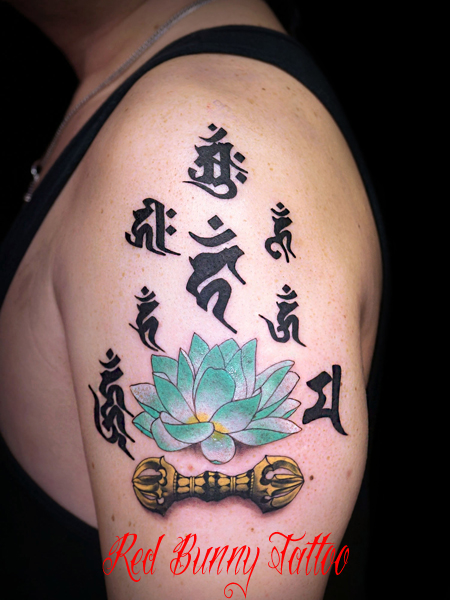 梵字・蓮・三鈷の刺青・タトゥーデザイン