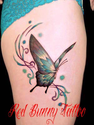 蝶 タトゥーデザイン butterfly tattoo 女性のワンポイントタトゥー
