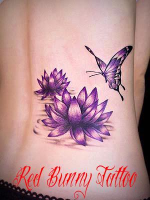 蓮と蝶のタトゥーデザイン 女性のタトゥー・刺青