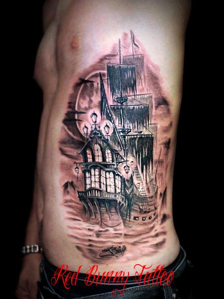 幽霊船 海賊船 タトゥーデザイン ghostship tattoo