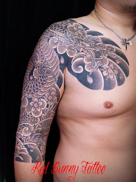 龍の刺青・和彫り 額 七分 japanese tattoo