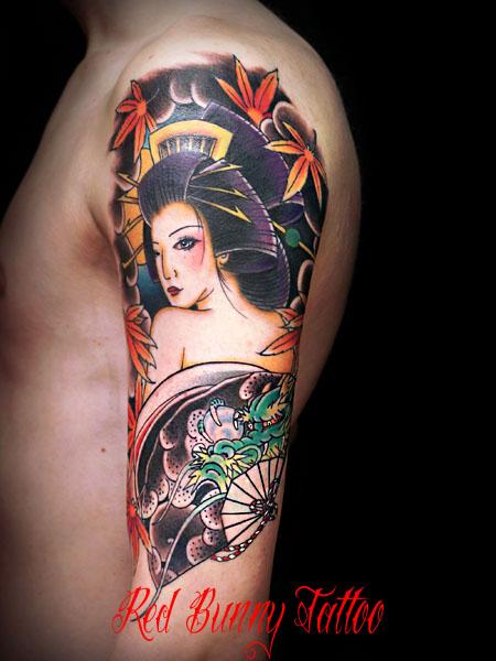 日本女性 刺青・タトゥーデザイン 花魁・着物 japanese woman tattoo