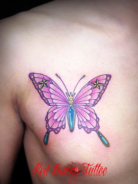 蝶 タトゥーデザイン・画像の紹介 女性のワンポイントタトゥー