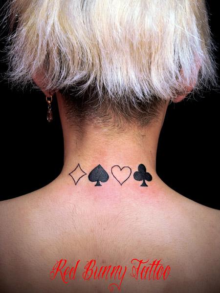 tattoo trump トランプ柄のタトゥーデザイン ハート・スペード・ダイヤ・クローバー