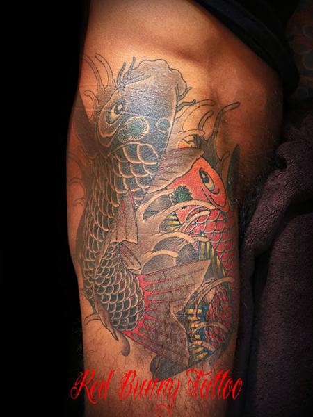 鯉の刺青・タトゥーデザイン 夫婦鯉