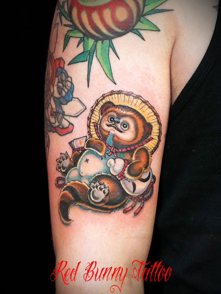 たぬきの置物 タトゥーデザイン tanuki tattoo 縁起物・信楽焼