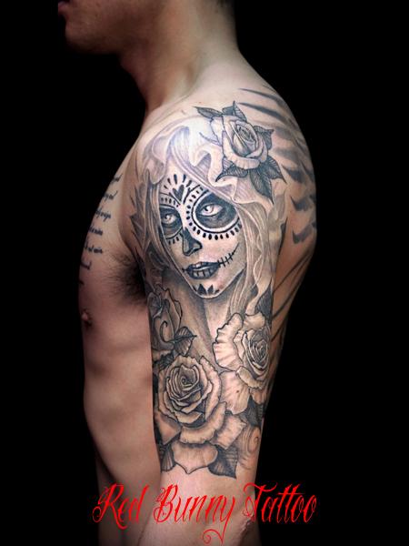 シュガースカル 女性 タトゥーデザイン sugar skull lady tattoo