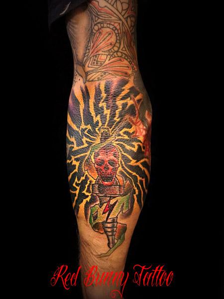 プラグ スカル タトゥーデザイン sparkplug&skull tattoo