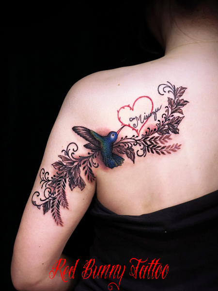 ハチドリと植物 タトゥーデザイン bird flower tattoo