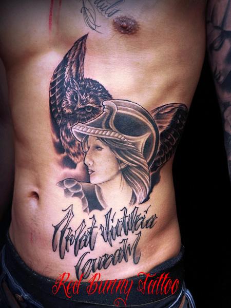 ミネルウァ ふくろう タトゥーデザイン Minerva tattoo 女神