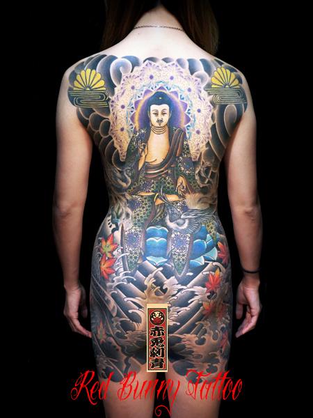 阿弥陀如来 女性 刺青 和彫り