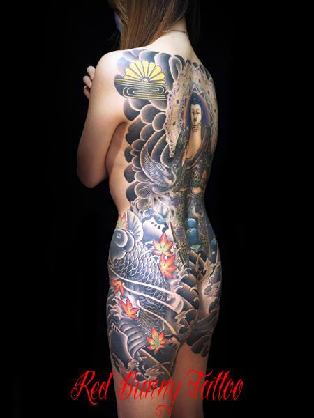 阿弥陀如来 女性の刺青・和彫り