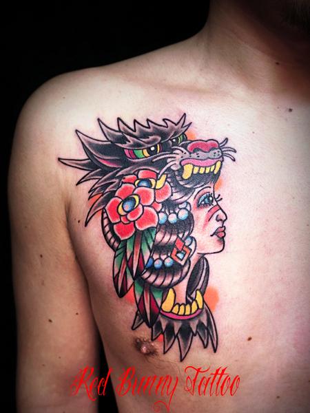 インディアンガール タトゥーデザイン indian girl tattoo