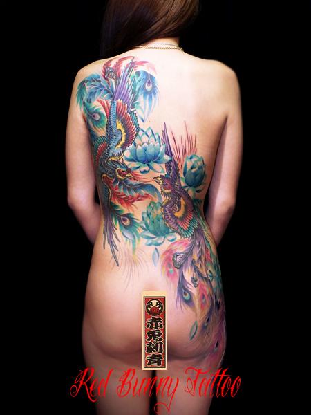 鳳凰と蓮 タトゥーデザイン 女性の刺青・和彫り
