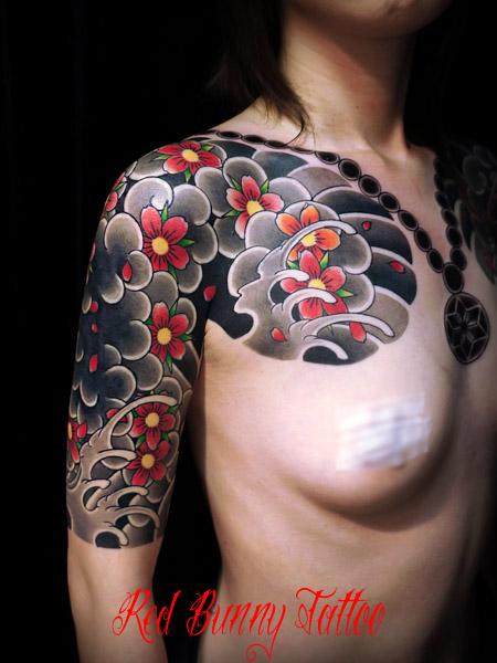 桜散らし 女性の刺青・和彫り japanese tattoo