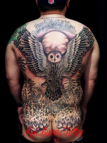 鳥・ふくろうのタトゥーデザイン owl tattoo