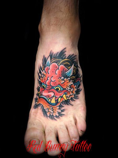 鬼・妖怪の刺青・タトゥーデザイン 足の甲