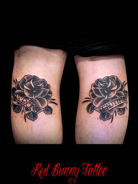 花・バラのタトゥーデザイン 対のデザイン rose tattoo