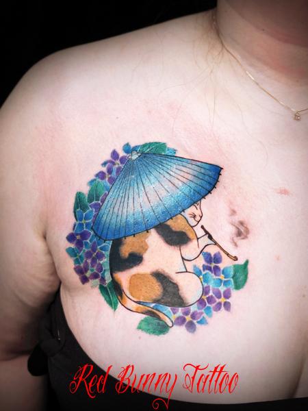 和風な猫のタトゥーデザイン japanese cat tattoo
