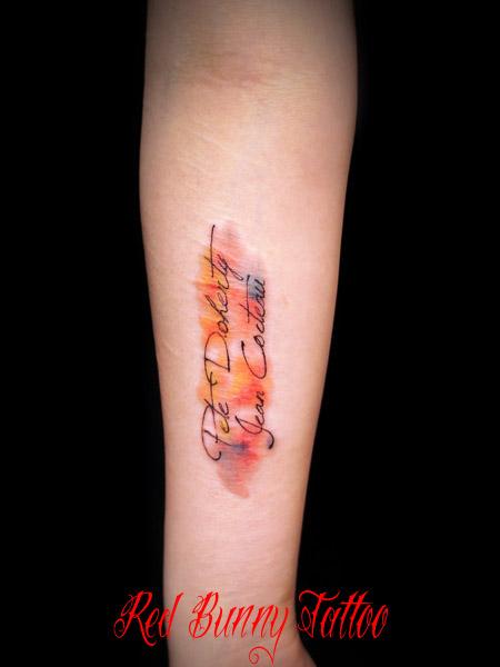 水彩画風の文字のタトゥーデザイン watercolor letter tattoo