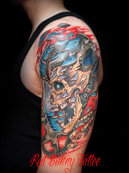 バイカー・スカルのタトゥーデザイン biker skull tattoo