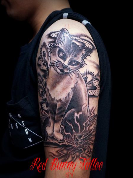 猫のタトゥーデザイン cat tattoo