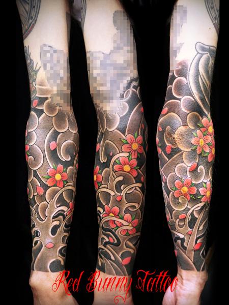 桜散らし 桜吹雪 刺青 和彫り タトゥー