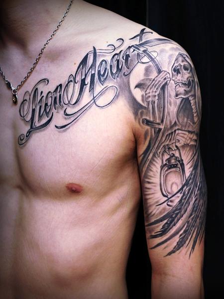 死神と文字のタトゥーデザイン GRIM REAPER & Letter tattoo
