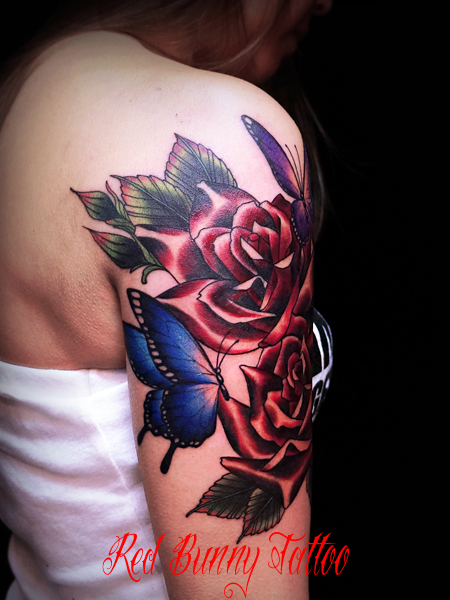 バラと蝶のタトゥーデザイン rose&butterfly tattoo