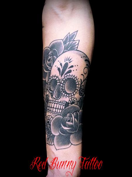 シュガースカルとバラ タトゥーデザイン skull&rose tattoo