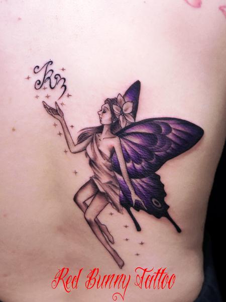 蝶の羽の妖精のタトゥーデザイン fairy tattoo