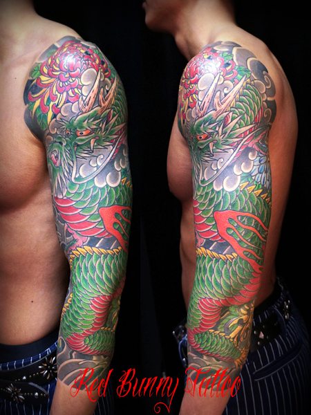 龍と菊の刺青・タトゥーデザイン 和彫り