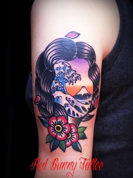 日本の思い出 タトゥーデザイン japanese girl tattoo