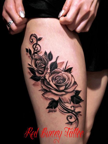 花・植物 バラのタトゥーデザイン rose tattoo